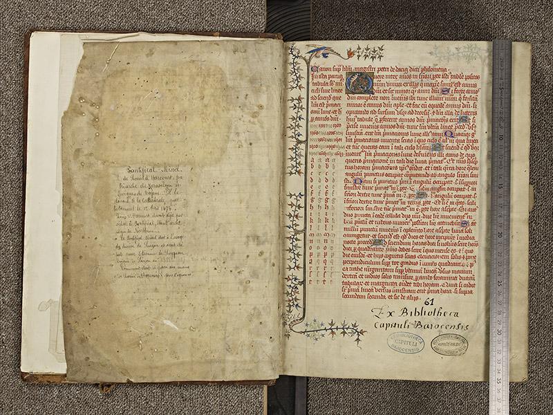 BAYEUX, Bibliothèque du chapitre, 0061, f. 000Dv – 001 avec réglet