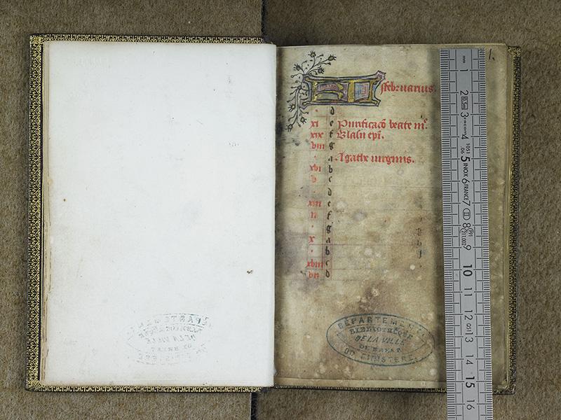 BREST, Bibliothèque municipale, 0001, f. 000Cv - 001 avec réglet