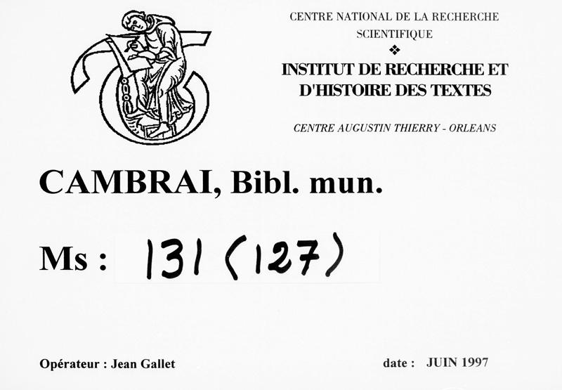 CAMBRAI, Bibliothèque municipale, 0131 (0127), marque de service début