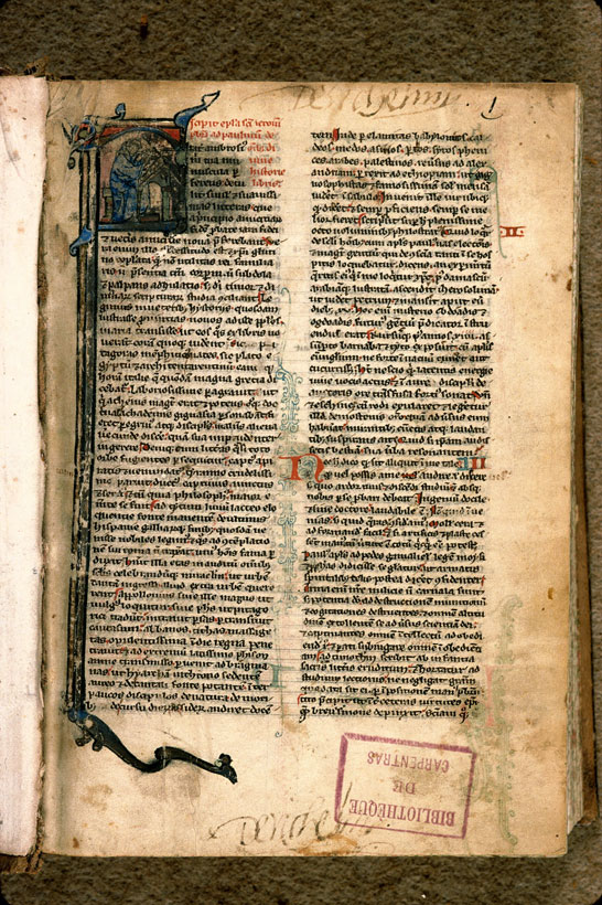 Carpentras, Bibl. mun., ms. 0001, f. 001 - vue 2