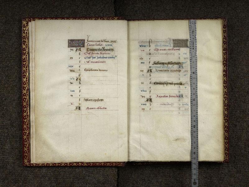 CHANTILLY, Bibliothèque du château, 0074 (1088), f. 001v - 002 avec réglet