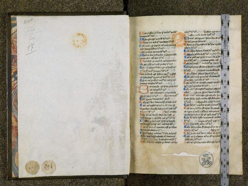 CHANTILLY, Bibliothèque du château, 0125 (0669), contregarde - p. 001 avec réglet