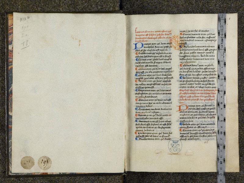CHANTILLY, Bibliothèque du château, 0126 (0670), contregarde - p. 001 avec réglet