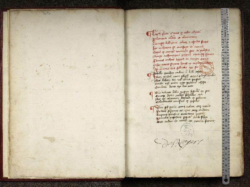 CHANTILLY, Bibliothèque du château, 0348 (0633), f. 000Cv - 001 avec réglet