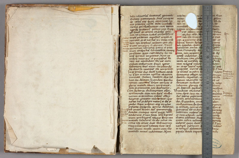 LAON, Bibliothèque municipale, 0400, contregarde - f. 001 avec réglet