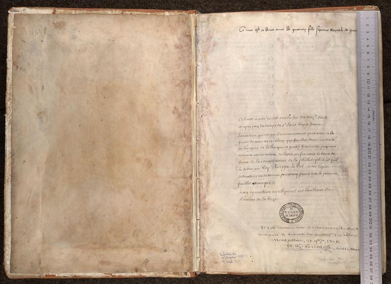 MONTPELLIER, Bibliothèque interuniversitaire , H 043, contreplat supérieur - 001 avec réglet