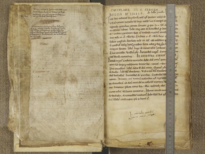 NANTES, Musée Dobrée, ms. 0003, f. 000Bv - 001 avec réglet