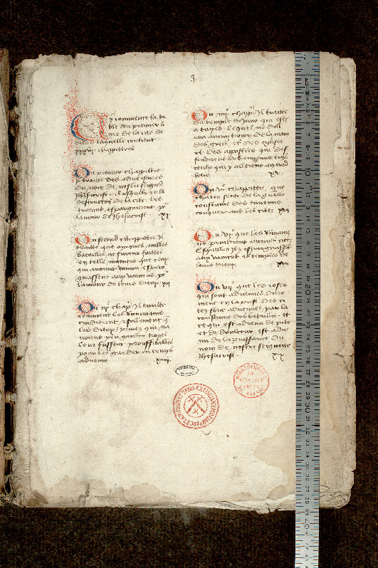 Paris, Bibl. de l'Institut de France, ms. 0001, f. 001 - vue 1