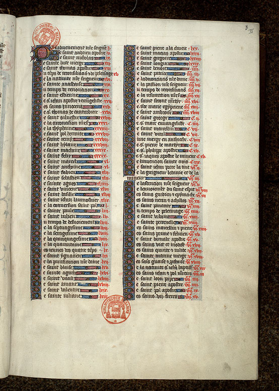 Paris, Bibl. Mazarine, ms. 1729, f. 000B
