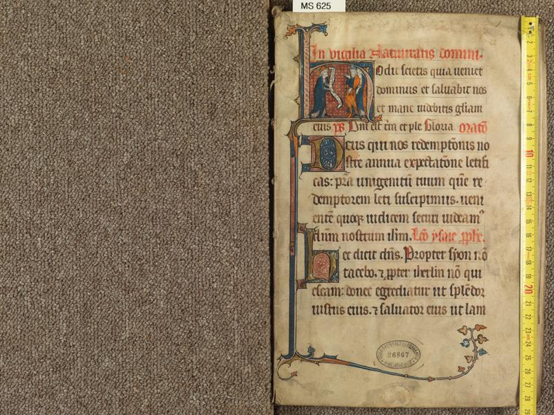 PARIS, Bibliothèque de l'Ecole des Beaux-Arts, Ms. 0625, f. 001 avec réglet (pas de plat supérieur et inférieur)