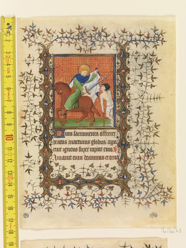 PARIS, Bibliothèque de l'Ecole des Beaux-Arts, Mn.Mas 0063, vue 1 avec réglet