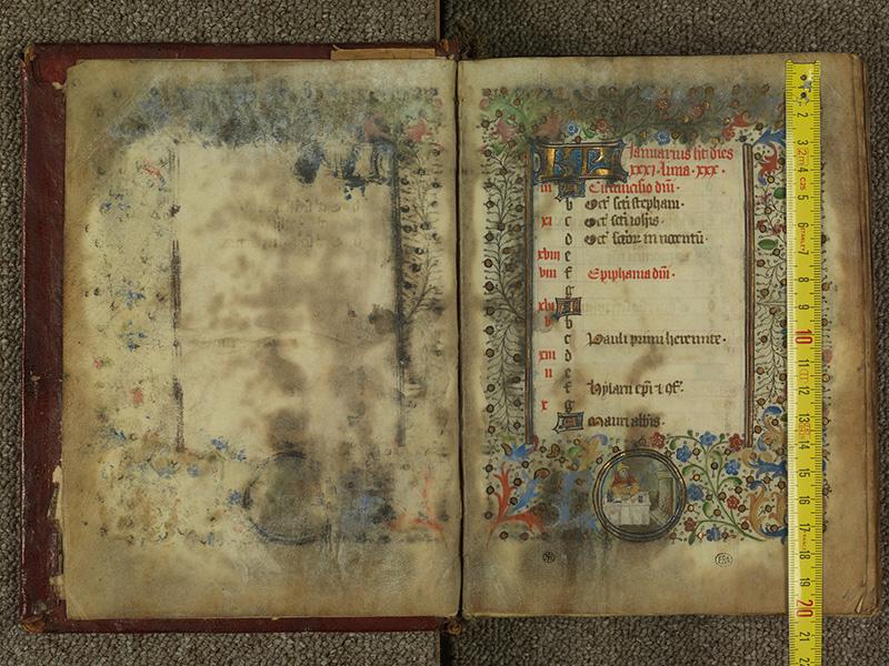 PARIS, Bibliothèque de l'Ecole des Beaux-Arts, Ms.Mas 0004, f. 000Av - 001 avec réglet