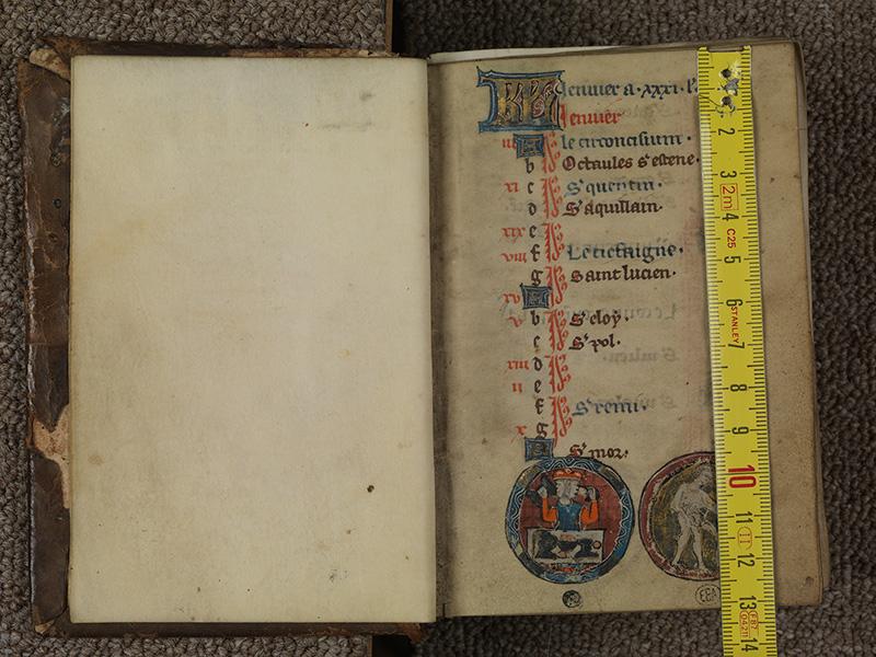 PARIS, Bibliothèque de l'Ecole des Beaux-Arts, Ms.Mas 0015, f. 000Bv - 001 avec réglet