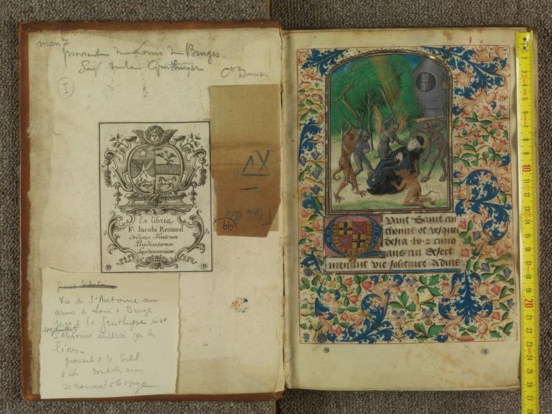 PARIS, Bibliothèque de l'Ecole des Beaux-Arts, Ms.Mas 0099, contreplat supérieur - I avec réglet