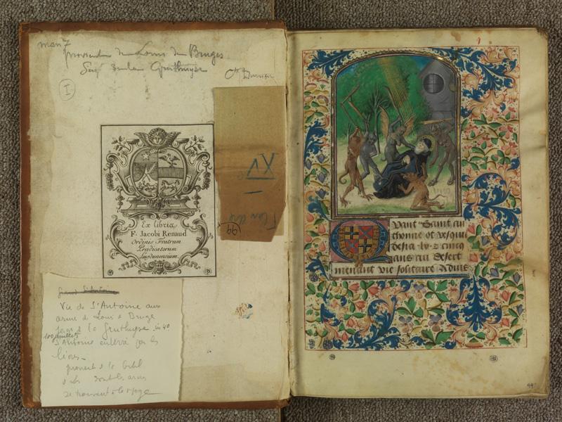 PARIS, Bibliothèque de l'Ecole des Beaux-Arts, Ms.Mas 0099, contreplat supérieur - I